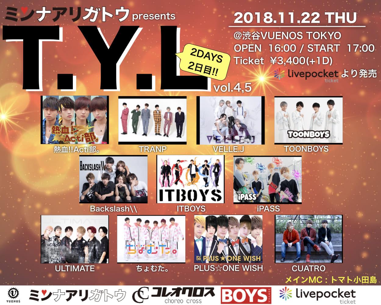 """ミンナアリガトウpresents「T.Y.L」vol.4,5 """"2DAYS開催2日目"""""""