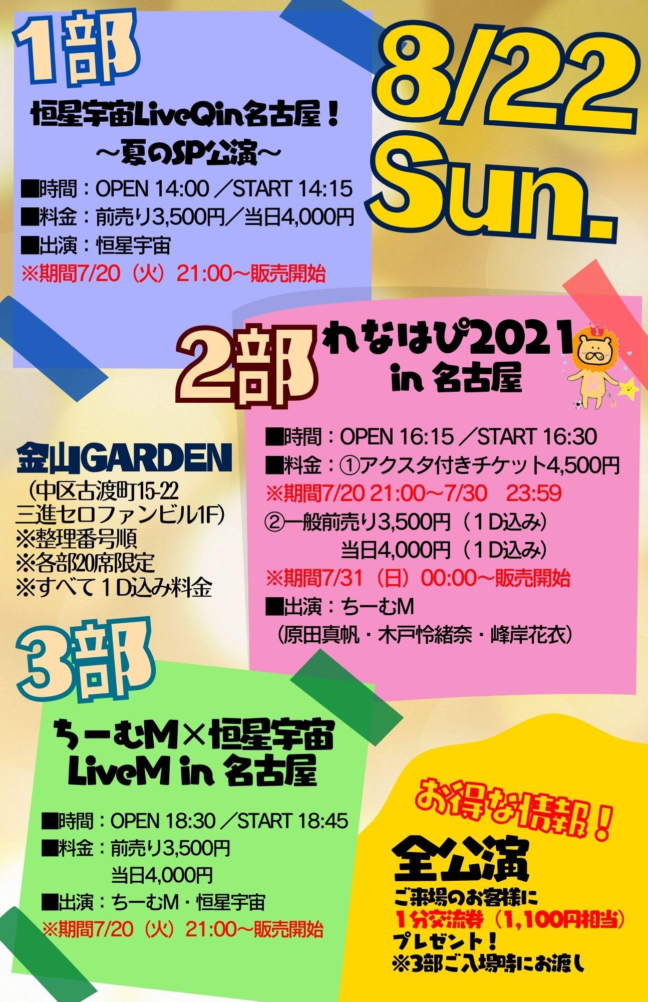 8/22(日)2部「れなはぴ2021 in 名古屋」