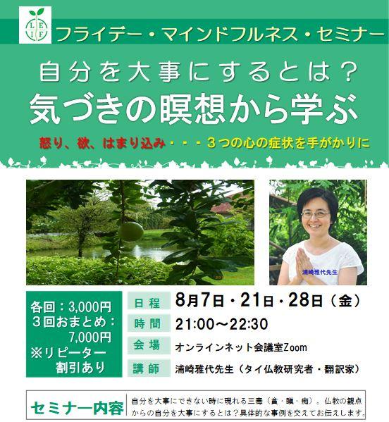 【8月】第6回オンラインマインドフルネスセミナー「タイの源流に学ぶマインドフルネス(気づきの瞑想)」