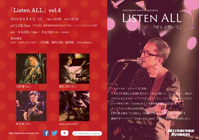 """鈴木博文(moonriders)/大田譲(カーネーション)/夏秋文尚/鳥羽修/solo-emma : """"METROTRON RECORDS PRESENTS「Listen ALL」vol.4"""""""