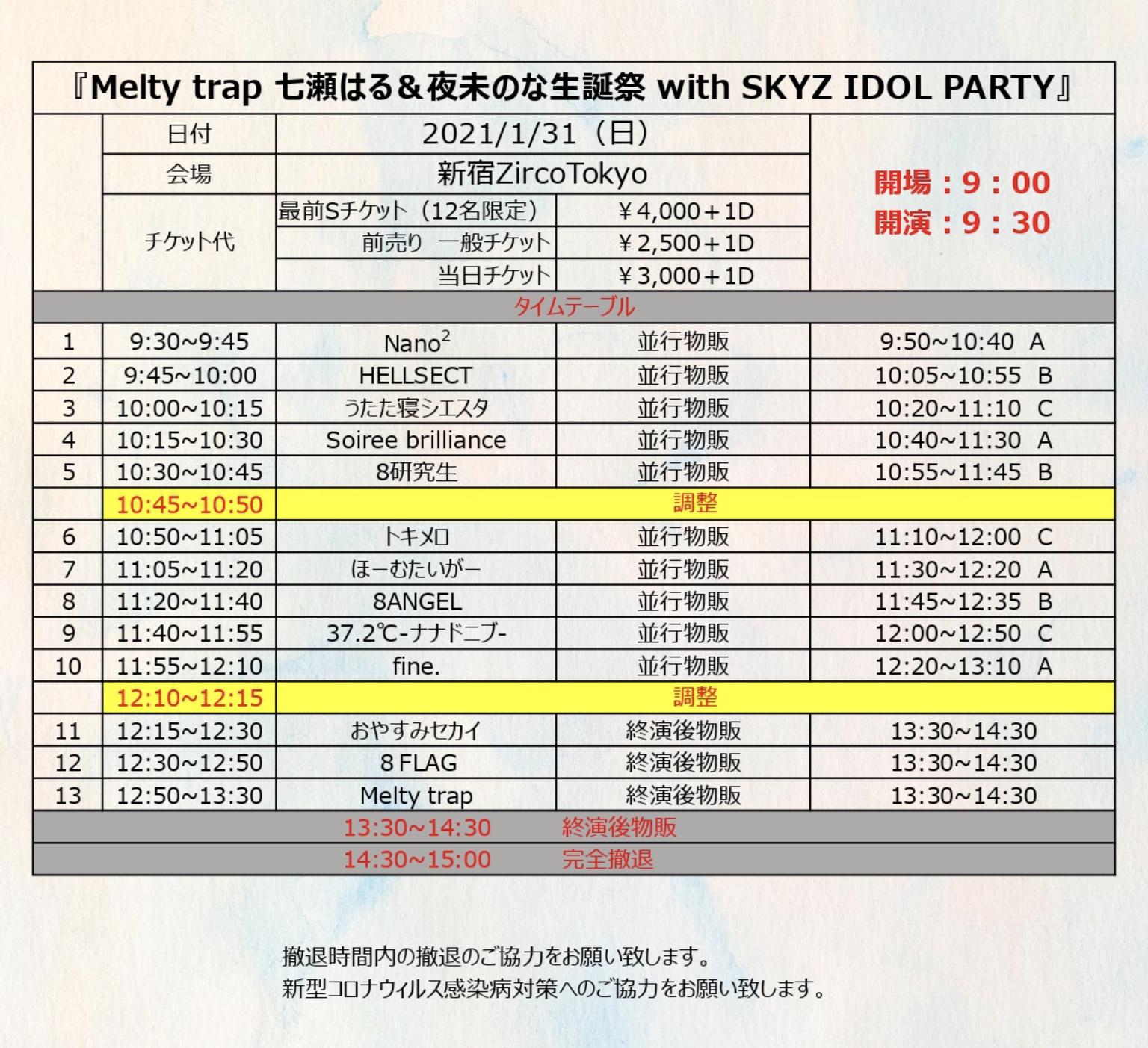 Melty Trap 七瀬はる&夜末のな生誕祭 with SKYZ IDOL PARTY