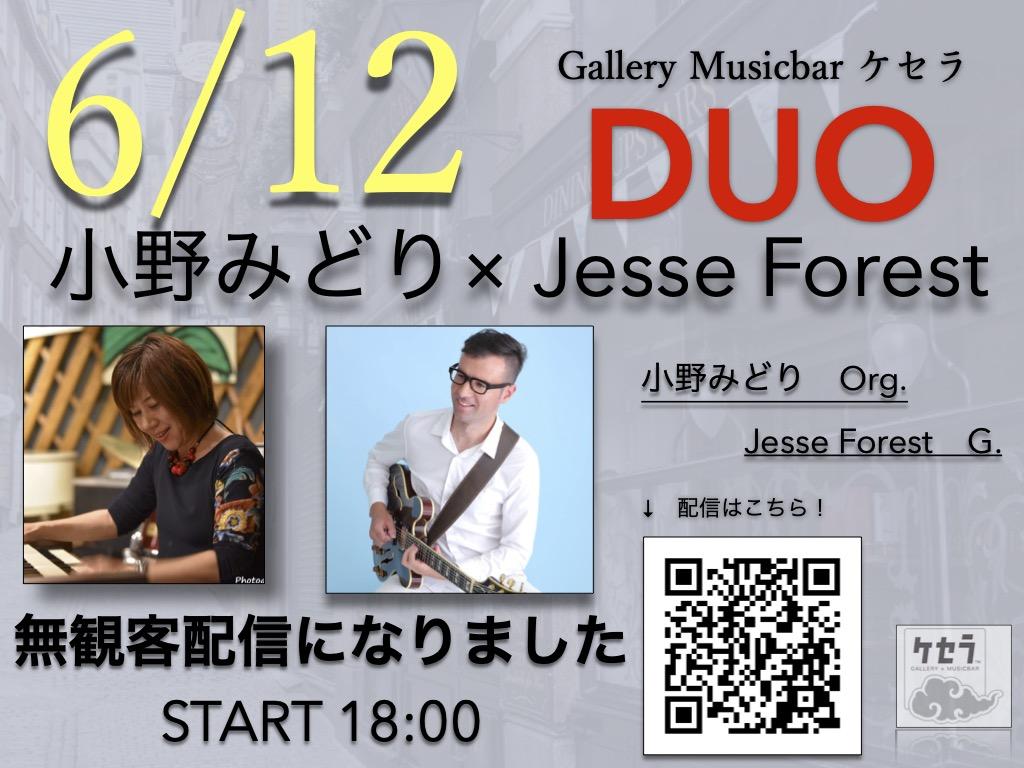 6/12 小野みどり・Jesse Forest  DUO(無観客配信です、開演時間が18時に変更になりました。)