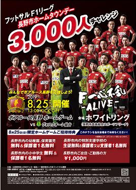 ボアルース長野vsヴォスクオーレ仙台 Fリーグ2019/2020 ディビジョン1