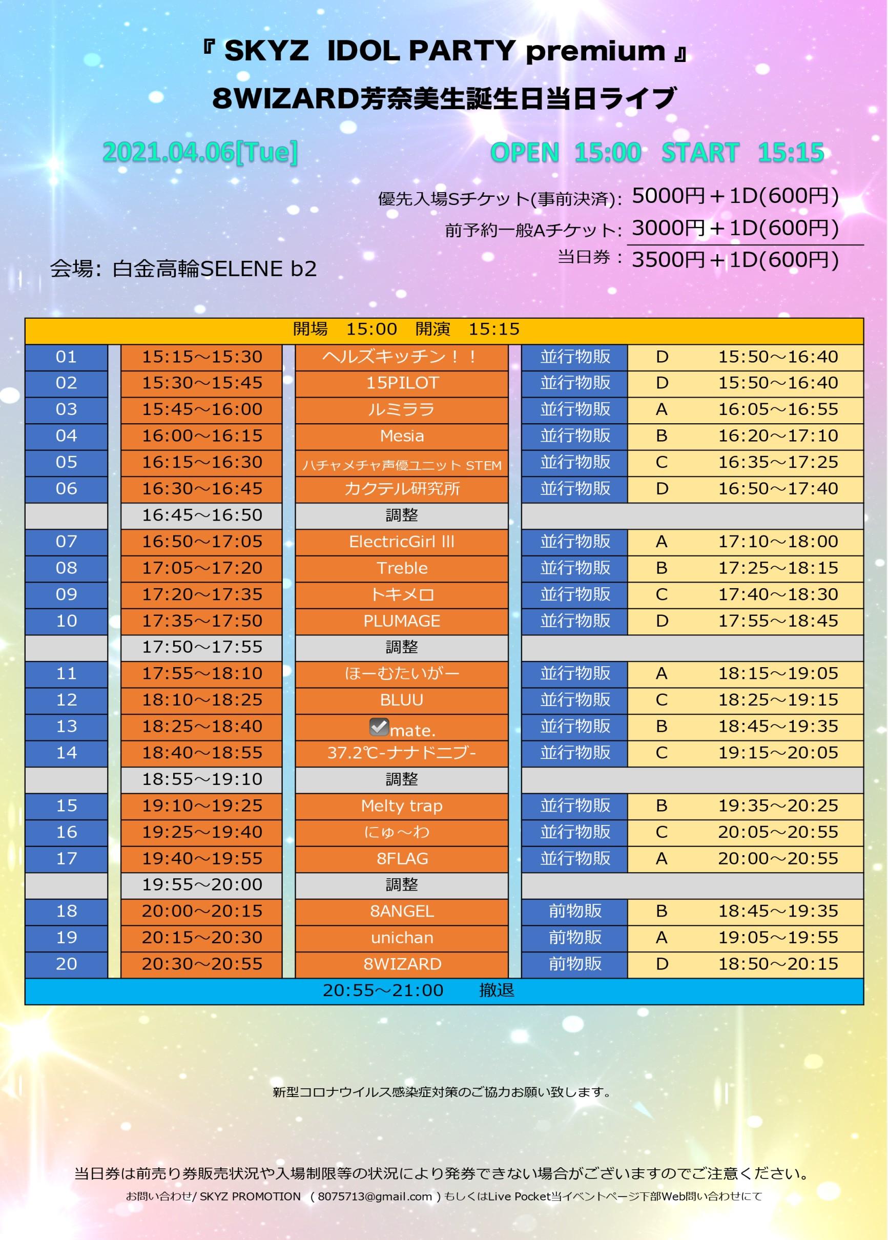 SKYZ IDOL PARTY premium 8WIZARD芳奈美生誕生日当日ライブ