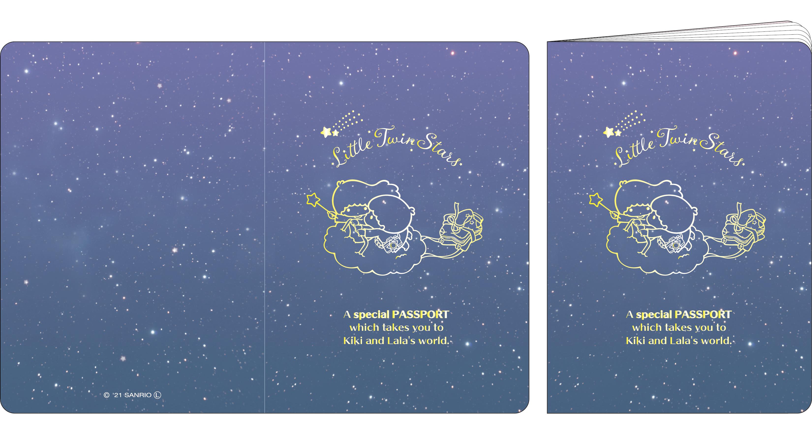 【数量限定グッズ】★ LittleTwinStars パスポート風手帳 ★ LittleTwinStars 夏の夜のファンタジー meets キキ&ララ展 PRODUCED BY LIDDELL